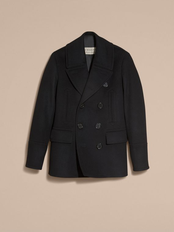 Black Wool Cashmere Pea Coat - cell image 3