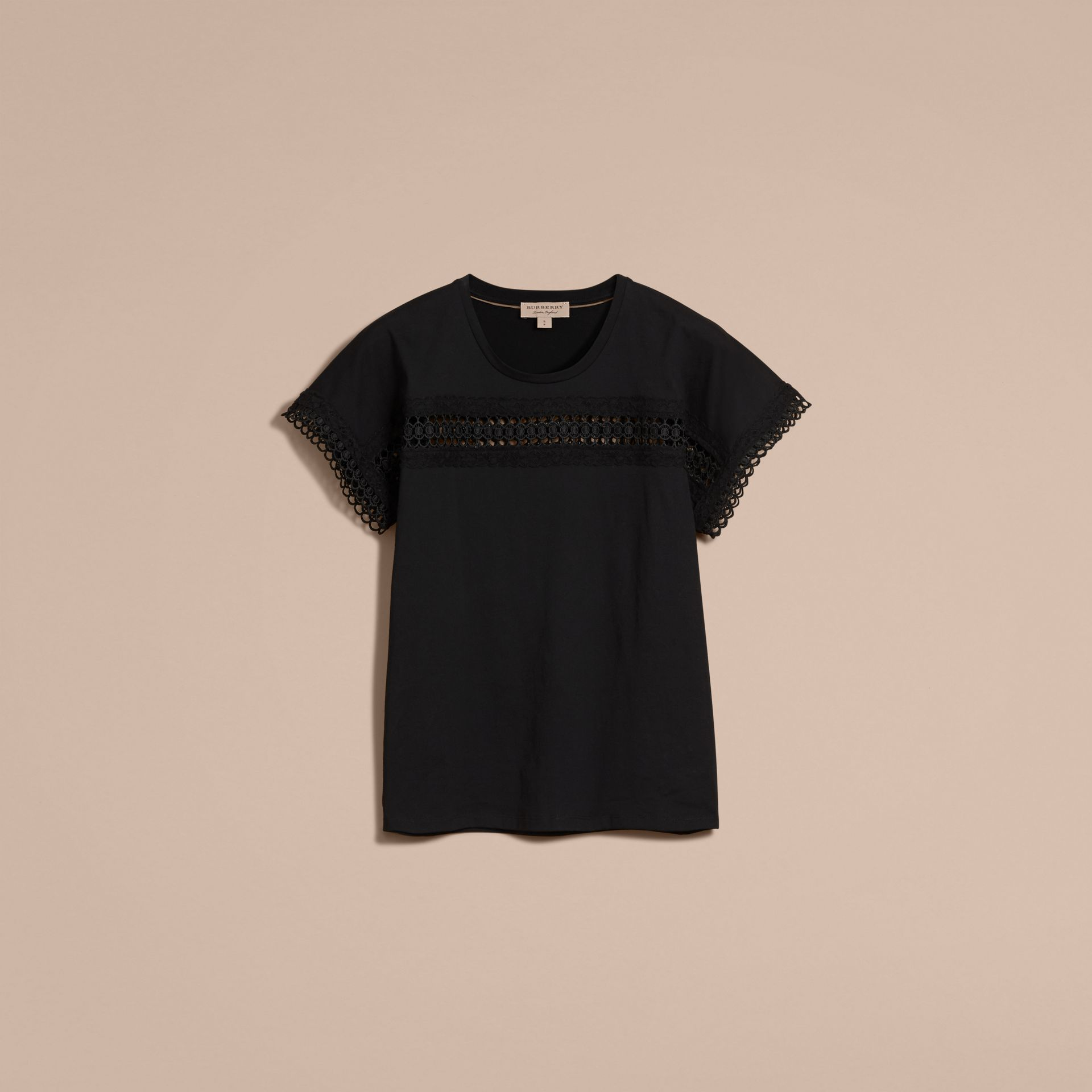Lace Detail Cotton T-shirt Black - gallery image 4
