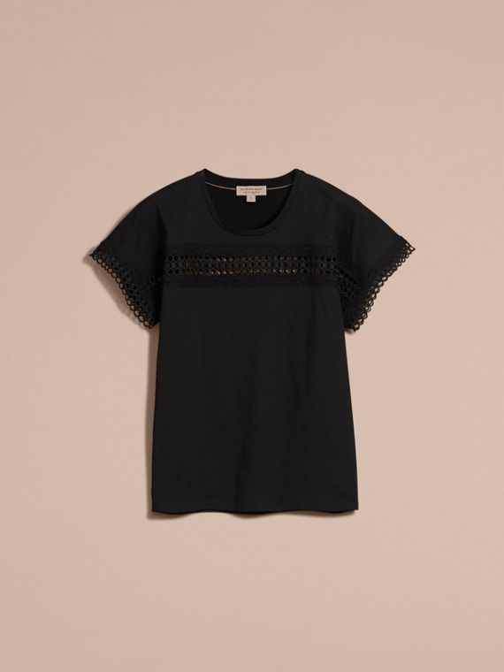 Lace Detail Cotton T-shirt Black - cell image 3