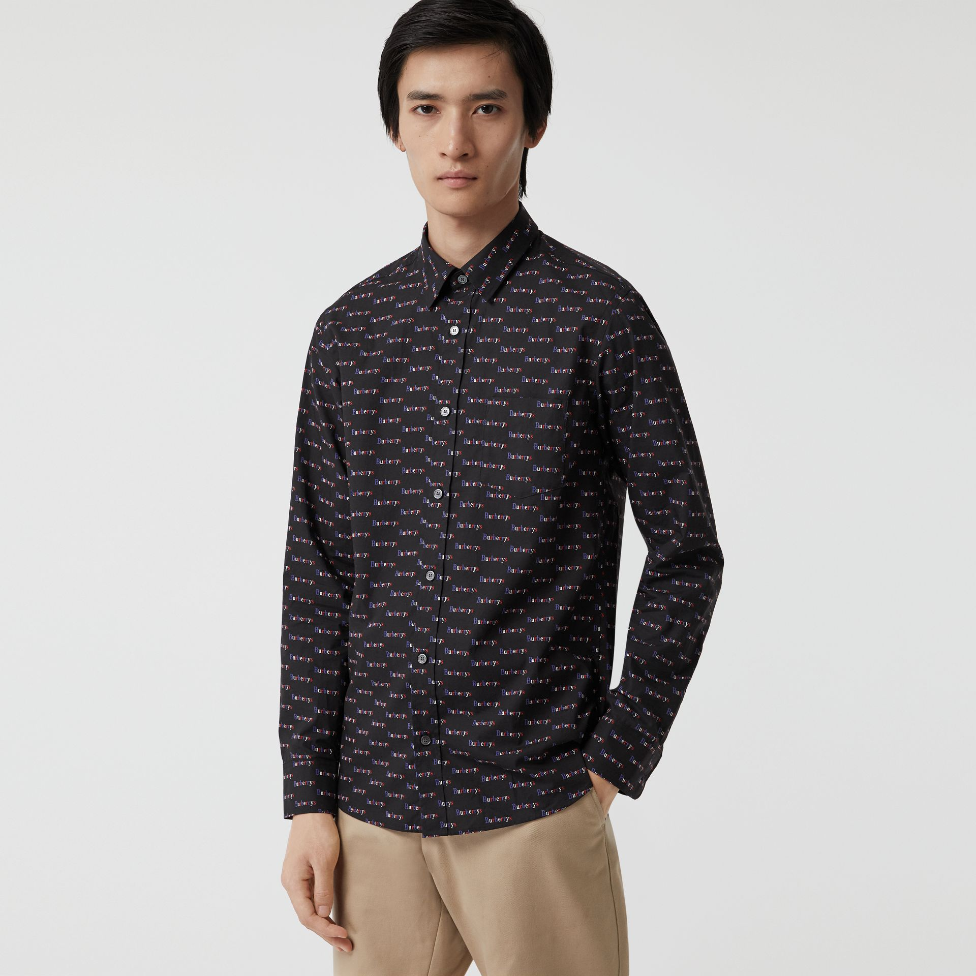 Logo Print Cotton Shirt in Black - Men | Burberry - gallery image 0