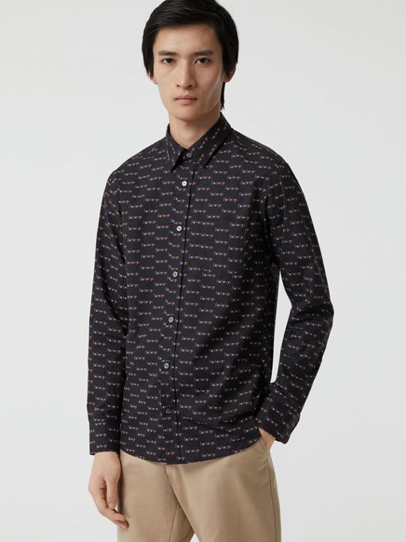 Logo Print Cotton Shirt in Black