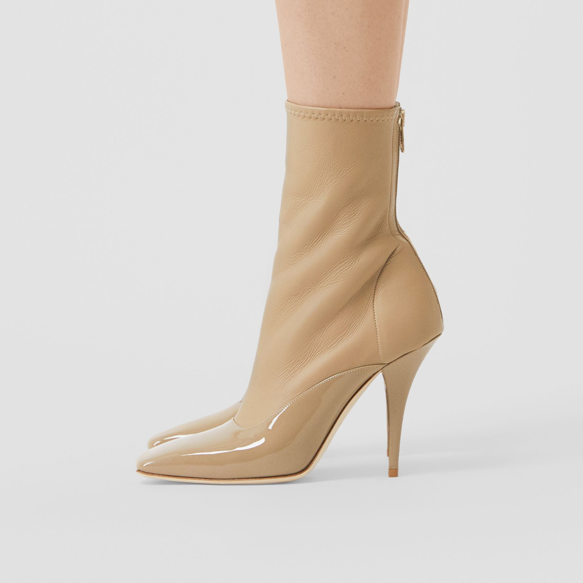 Lambskin and Patent Leather Ankle Boots in Dark Honey - Women | Burberry - gallery image 2