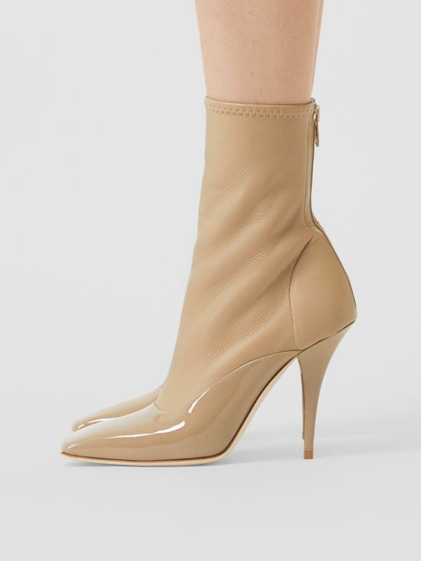 Lambskin and Patent Leather Ankle Boots in Dark Honey - Women | Burberry Australia - cell image 2