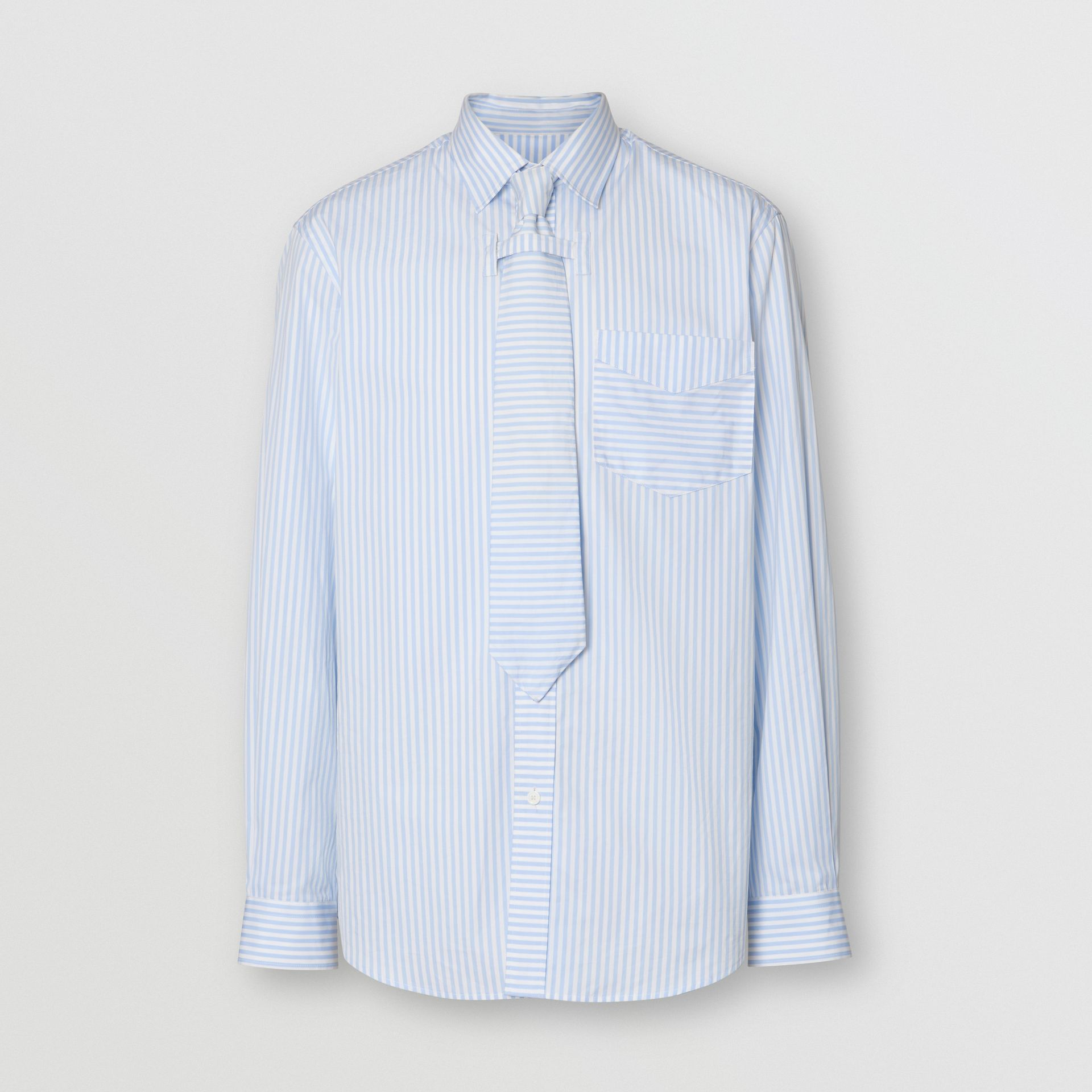 Striped Cotton Shirt and Tie Twinset in Pale Blue | Burberry - gallery image 3