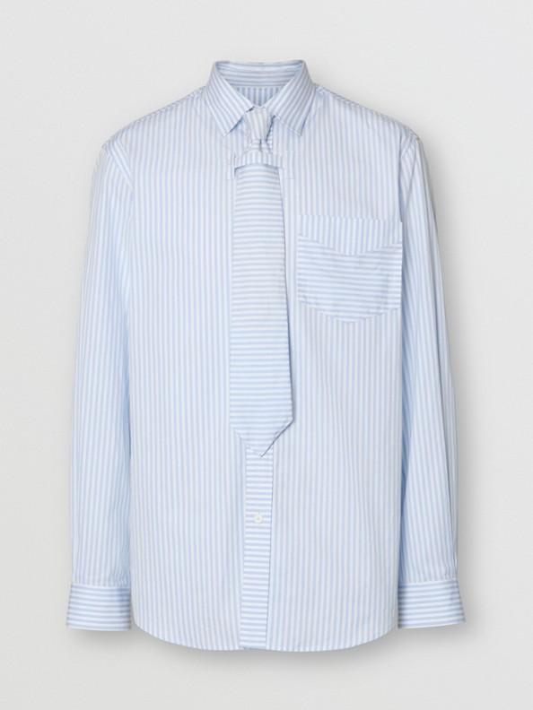 Conjunto de camisa e gravata de algodão listradas (Azul Claro)