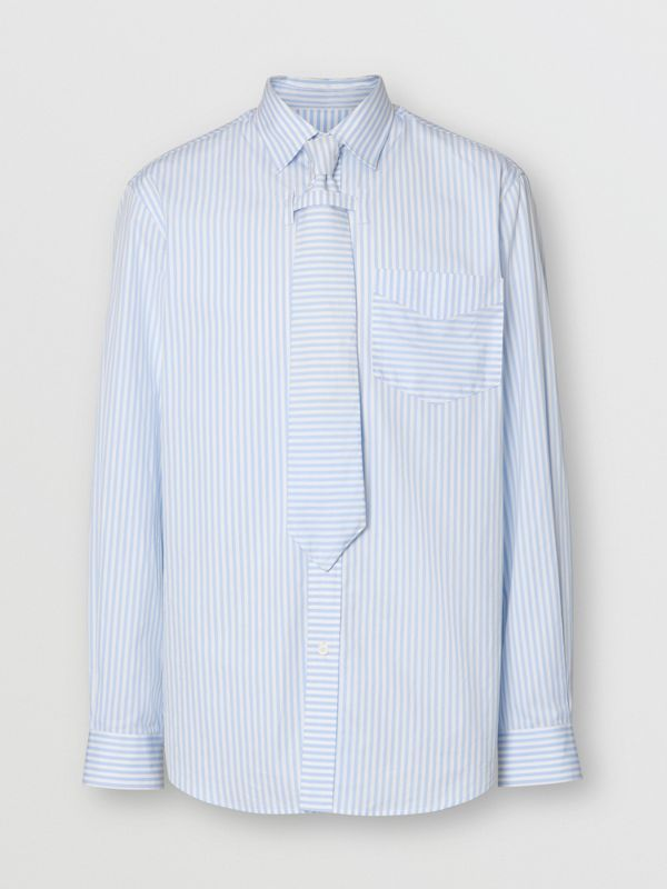 Striped Cotton Shirt and Tie Twinset in Pale Blue | Burberry Singapore - cell image 3