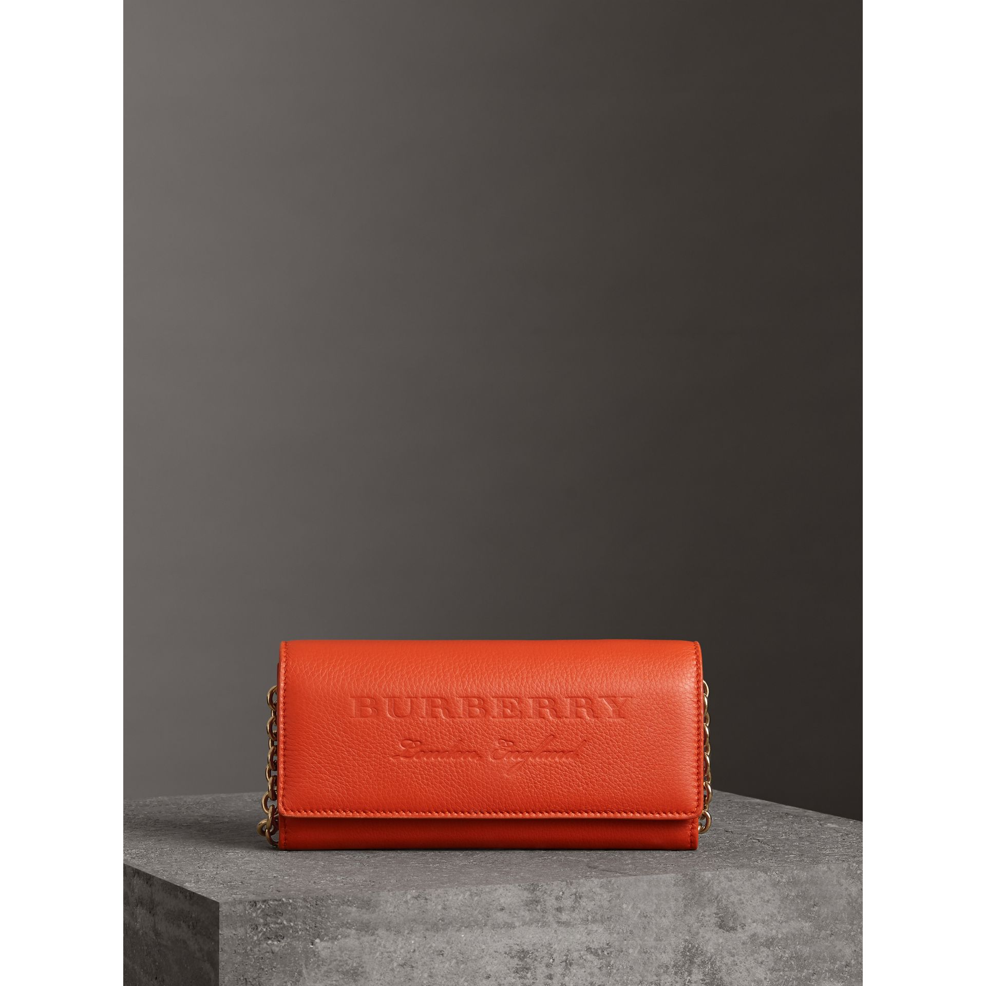 Embossed Leather Wallet with Chain in Dark Clementine - Women | Burberry United Kingdom - gallery image 6