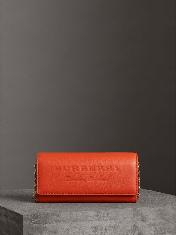 Embossed Leather Wallet with Chain in Dark Clementine