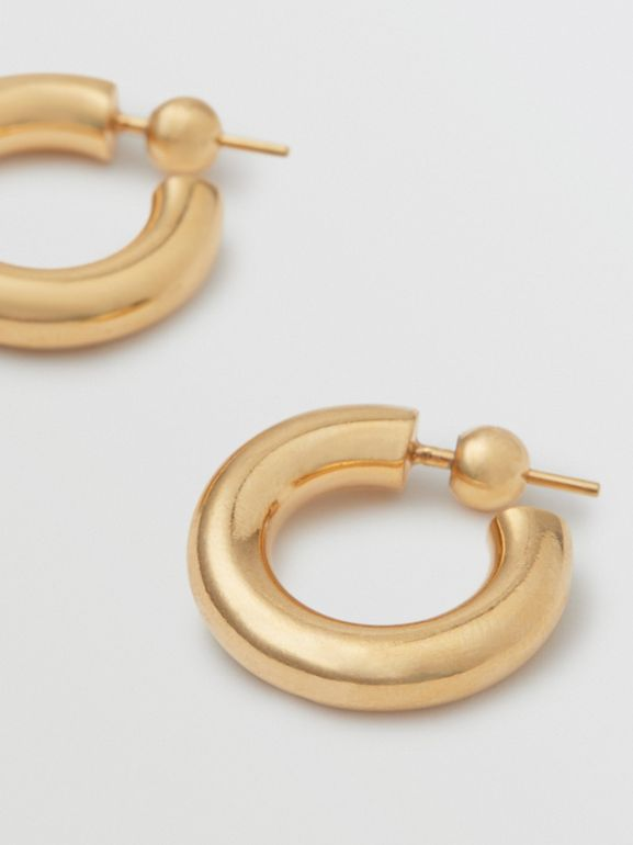 Gold-plated Hoop Earrings in Light - Women | Burberry - cell image 1