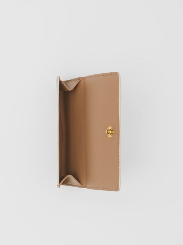 Small Monogram Print Leather Folding Wallet in Beige | Burberry United Kingdom - cell image 2