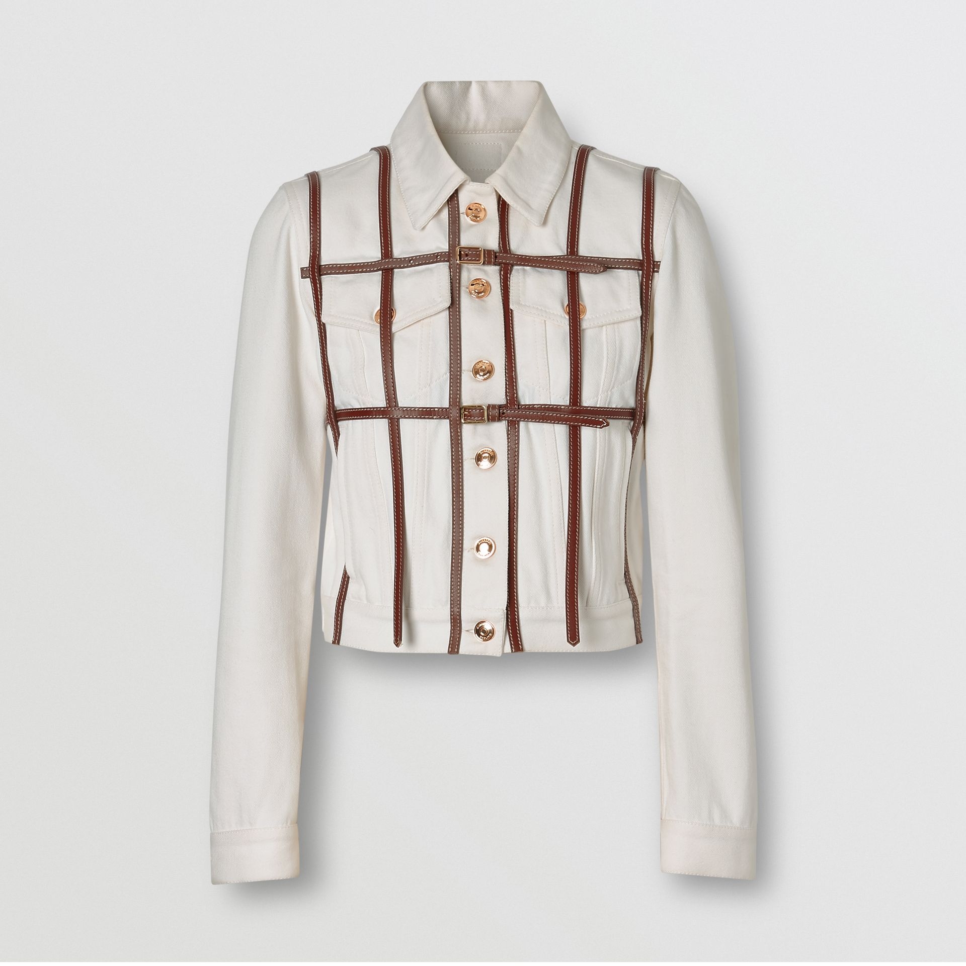 Leather Harness Detail Denim Jacket in Off White - Women | Burberry - gallery image 3