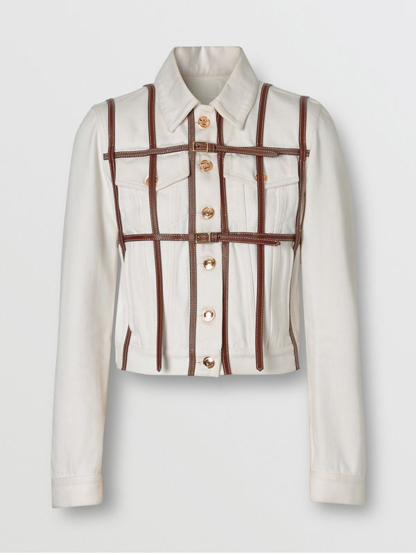 Leather Harness Detail Denim Jacket in Off White - Women | Burberry United Kingdom - cell image 3