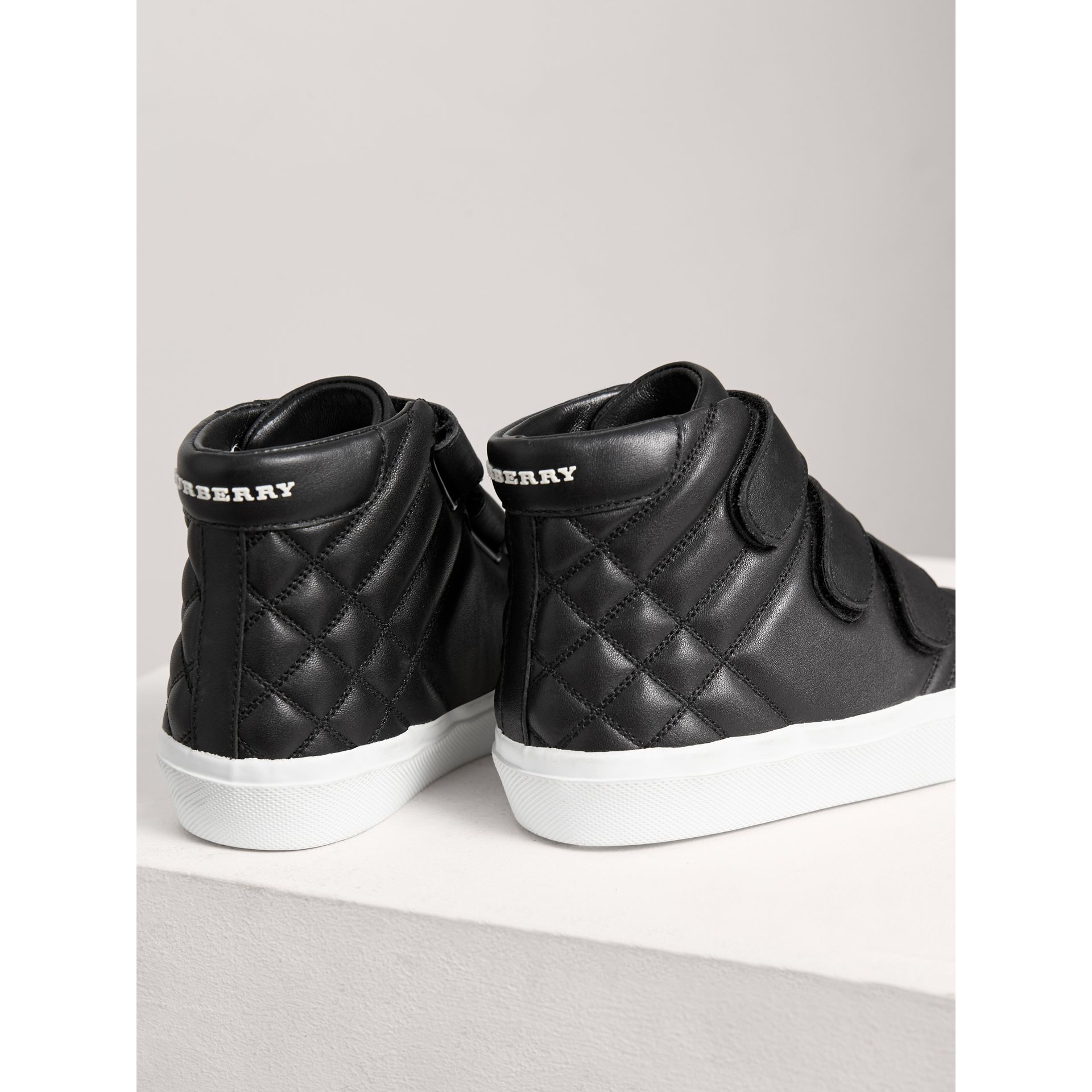 Check-quilted Leather High-top Sneakers in Black | Burberry Australia - gallery image 2