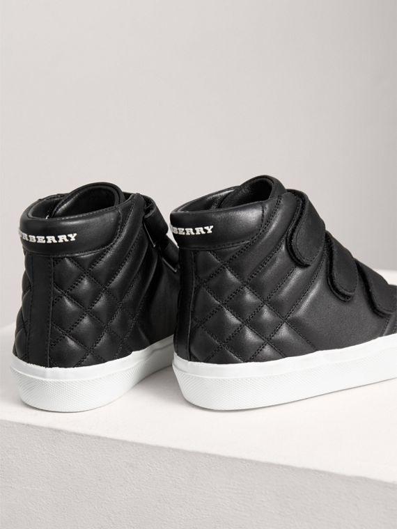 Check-quilted Leather High-top Sneakers in Black | Burberry Singapore - cell image 2