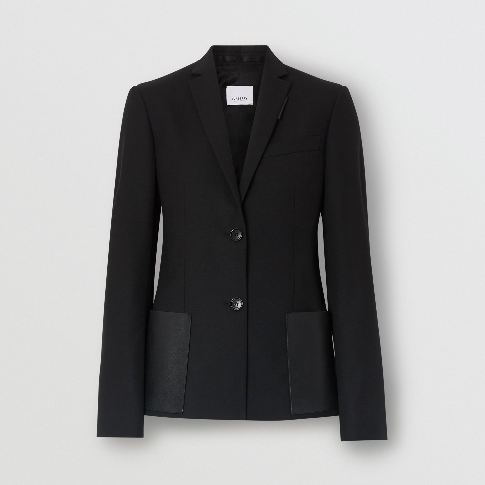 Leather Detail Wool Tailored Jacket in Black - Women | Burberry - gallery image 3