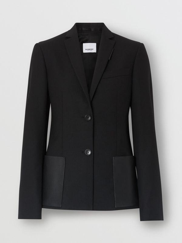 Leather Detail Wool Tailored Jacket in Black - Women | Burberry - cell image 3