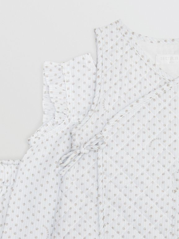 Polka Dot Cotton Three-piece Baby Gift Set in Natural White - Children | Burberry - cell image 1