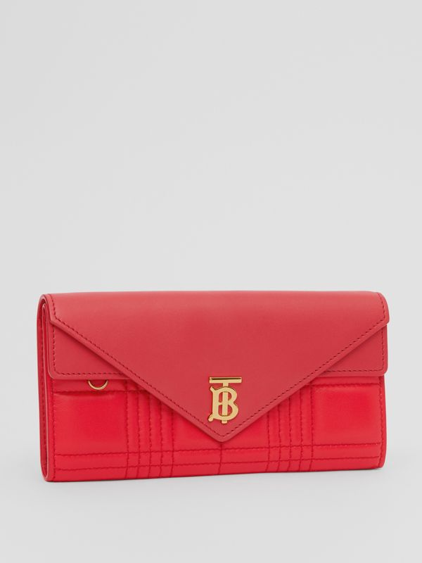 Monogram Motif Quilted Continental Wallet in Bright Red - Women | Burberry - cell image 3