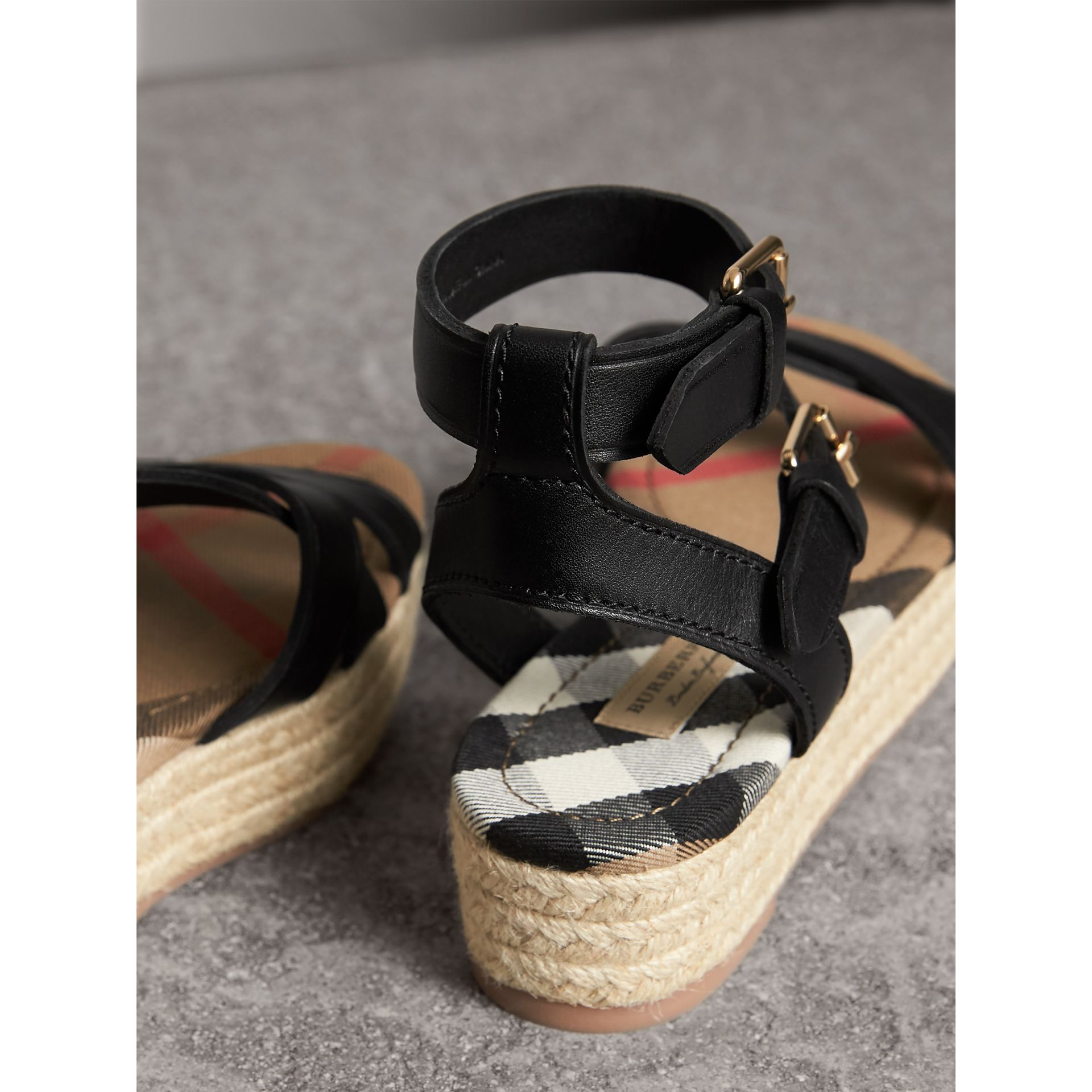 Leather and House Check Espadrille Sandals in Black - Women | Burberry - gallery image 4