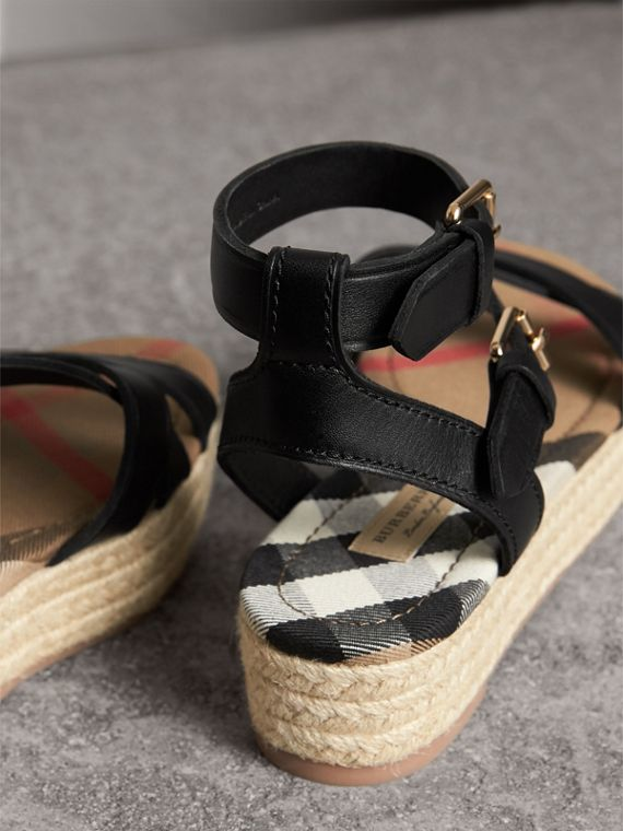 Leather and House Check Espadrille Sandals in Black - Women | Burberry - cell image 3