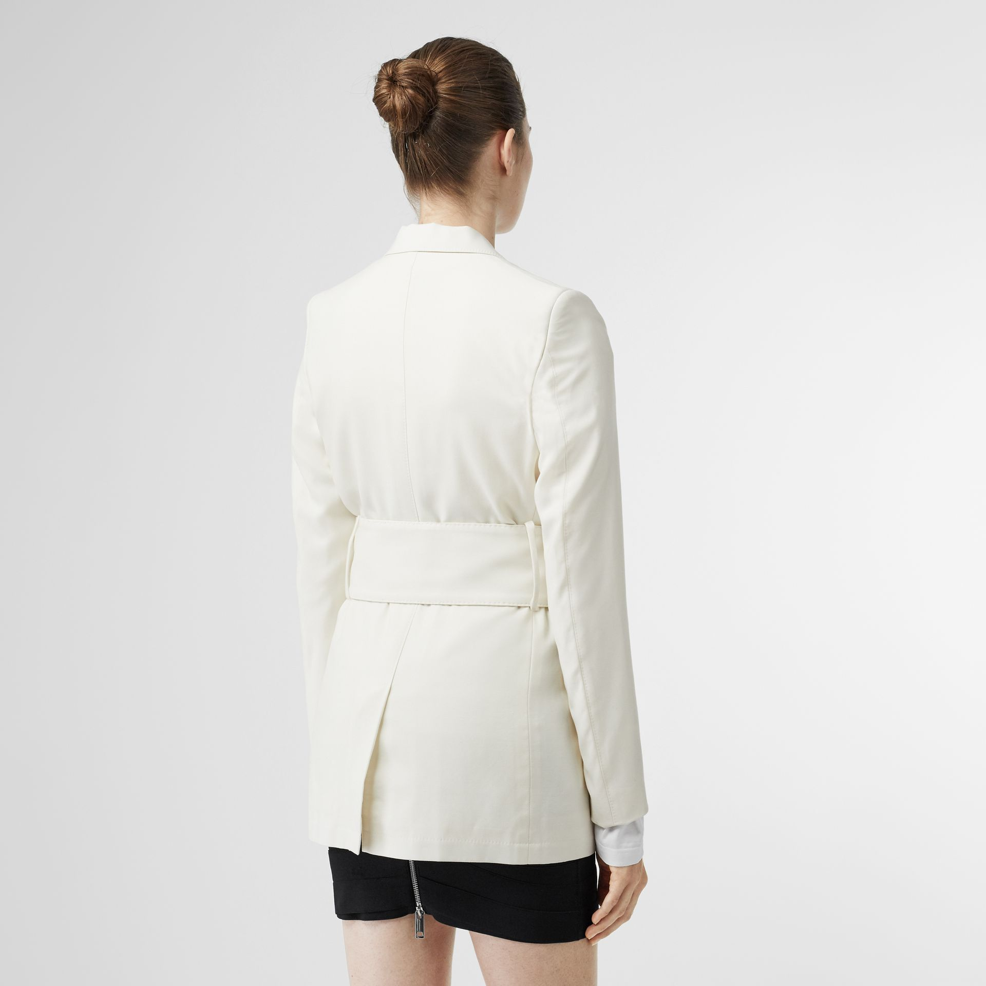 Wool Belted Blazer in White - Women | Burberry Singapore - gallery image 2