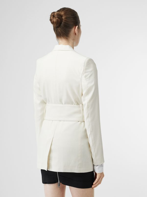 Wool Belted Blazer in White - Women | Burberry - cell image 2