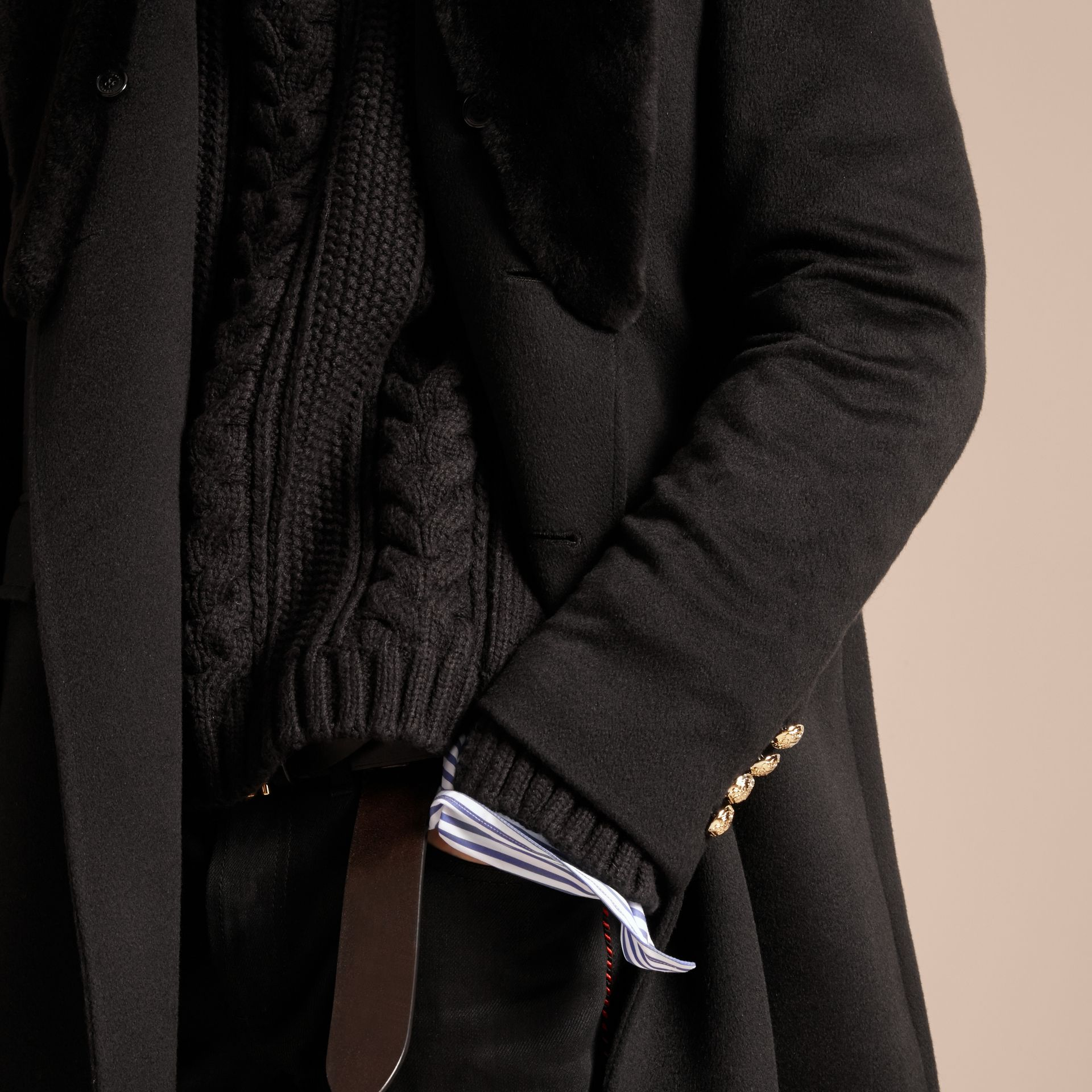 Regimental Cashmere Coat with Detachable Mink Collar - Men | Burberry - gallery image 6