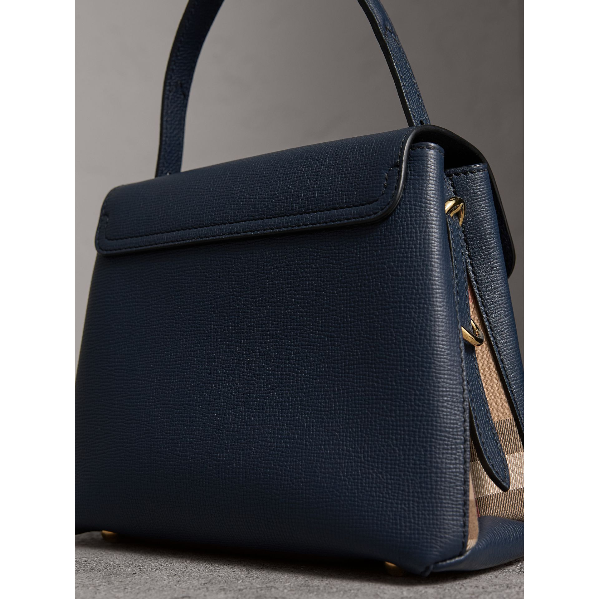Small Grainy Leather and House Check Tote Bag in Ink Blue - Women | Burberry - gallery image 5