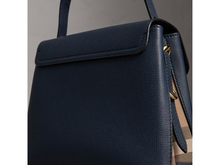 Small Grainy Leather and House Check Tote Bag in Ink Blue - Women | Burberry - cell image 4