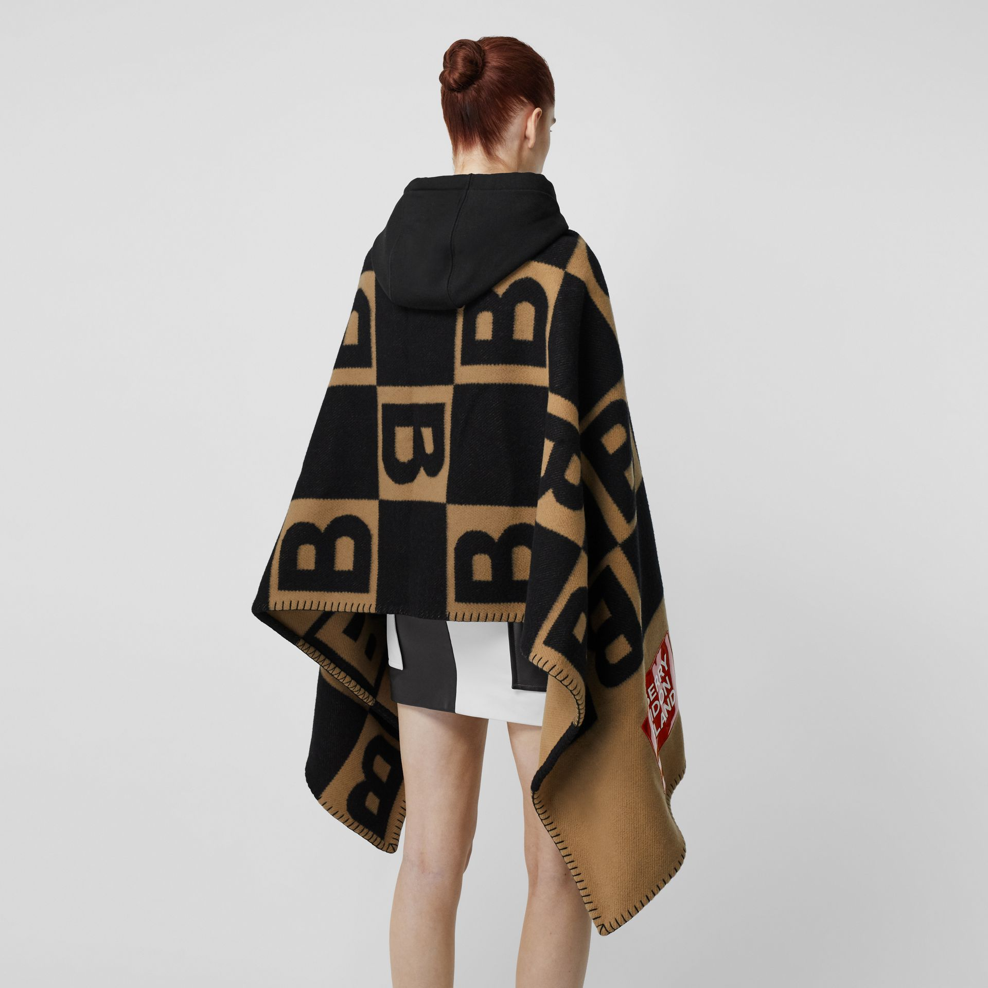 Reversible B Motif Wool Cashmere Blanket Cape in Archive Beige | Burberry United Kingdom - gallery image 8