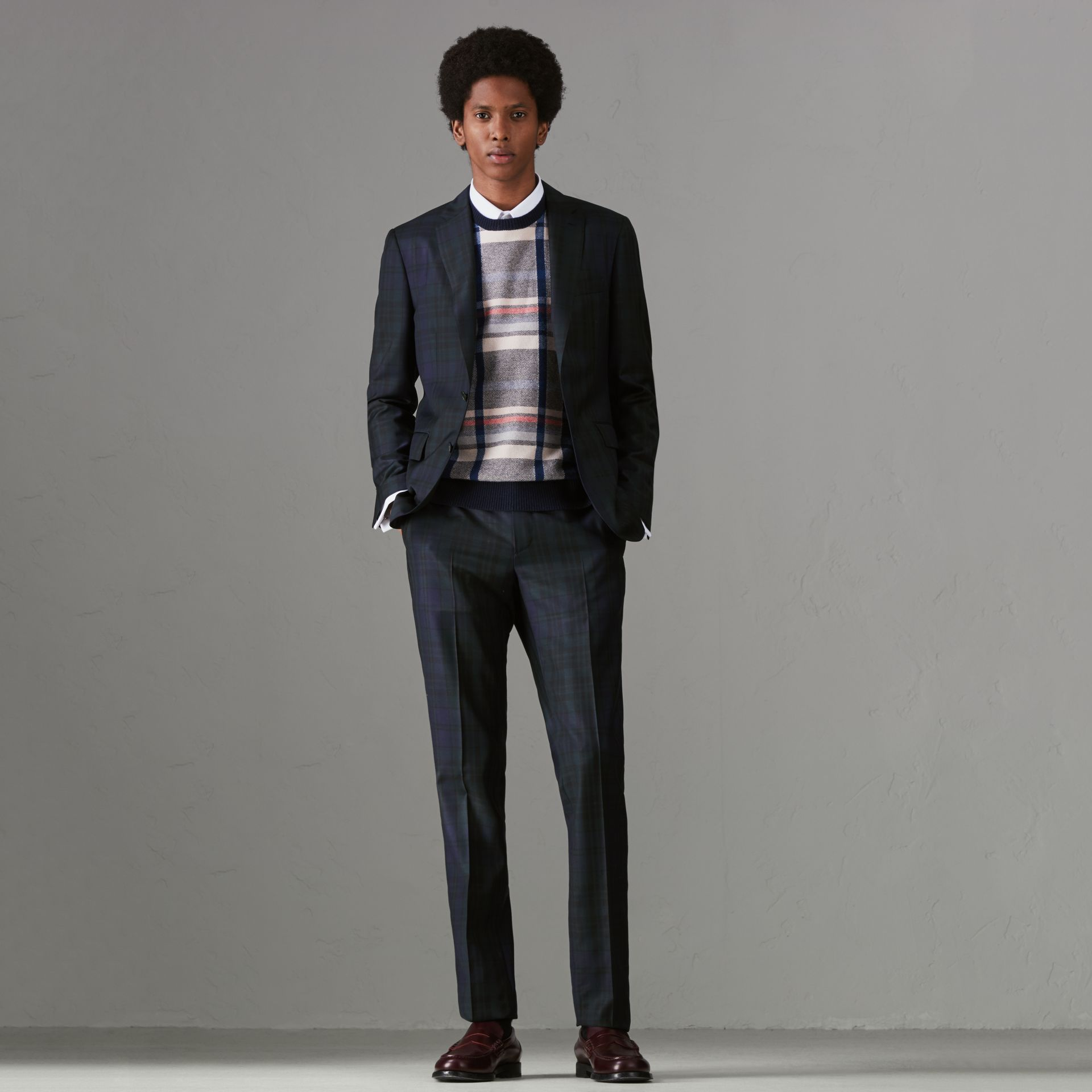 Soho Fit Tartan Wool Twill Suit in Navy - Men | Burberry - gallery image 0