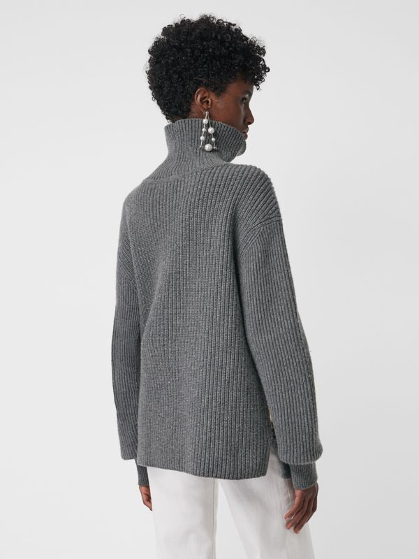 Archive Scarf Print Panel Wool Turtleneck Sweater in Grey Melange - Women | Burberry - cell image 2