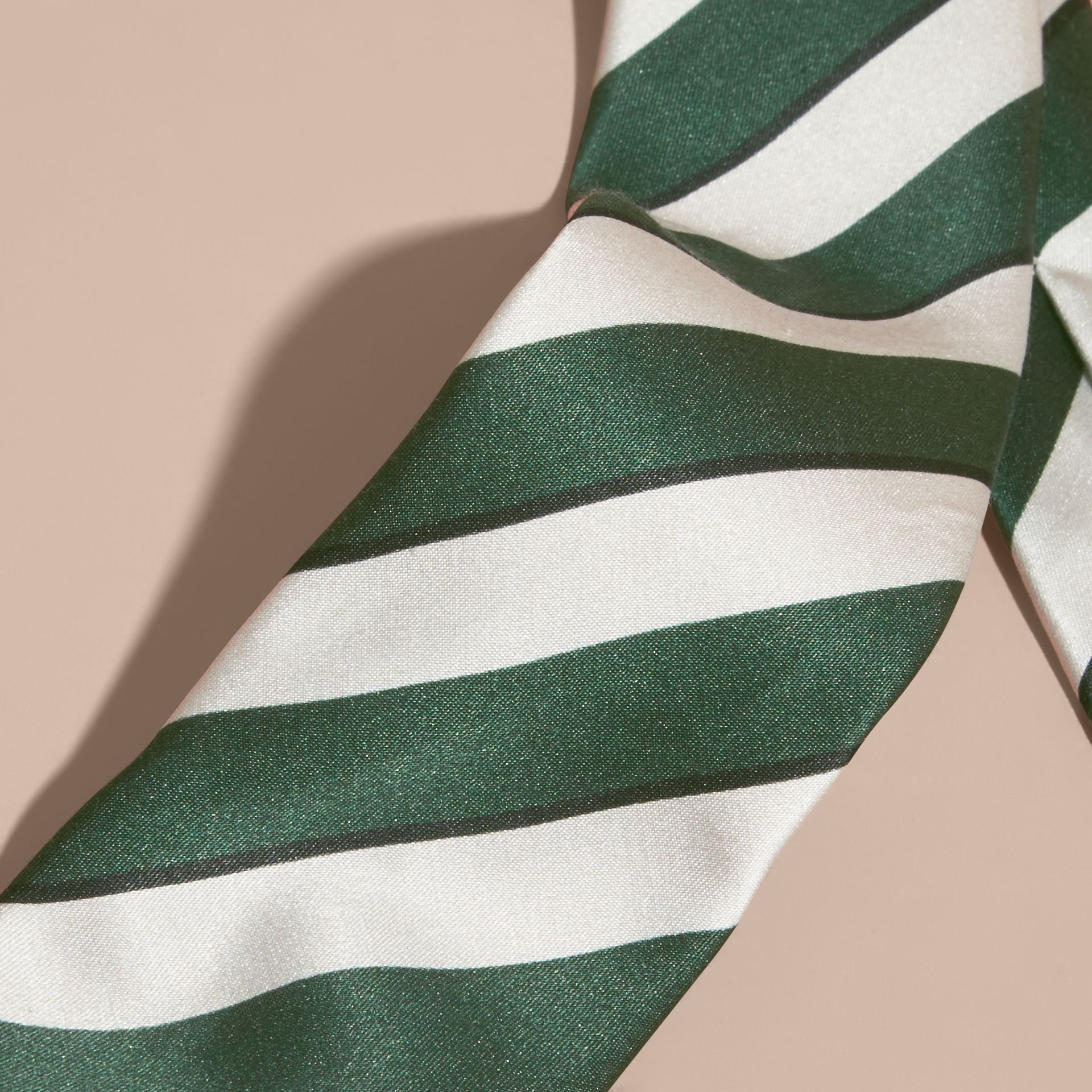 Forest green Slim Cut Striped Silk Cotton Tie Forest Green - gallery image 2
