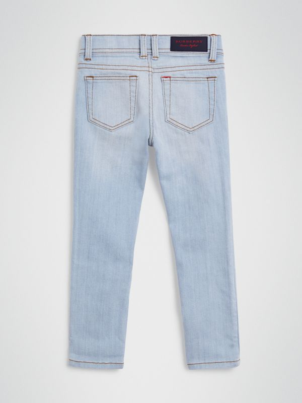Skinny Fit Stretch Jeans in Light Blue - Girl | Burberry - cell image 3