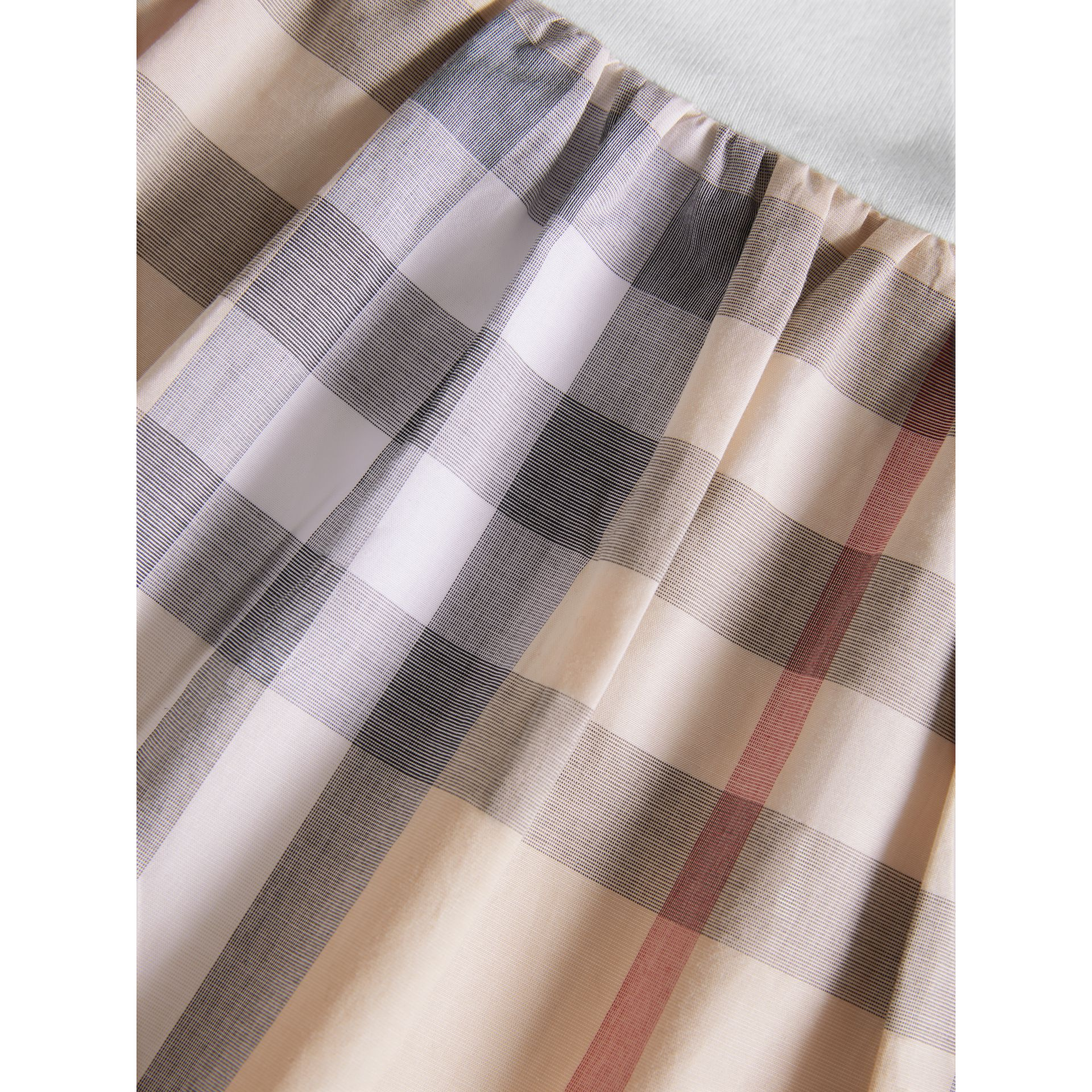 Cotton Check Dress in Pale Stone | Burberry - gallery image 1