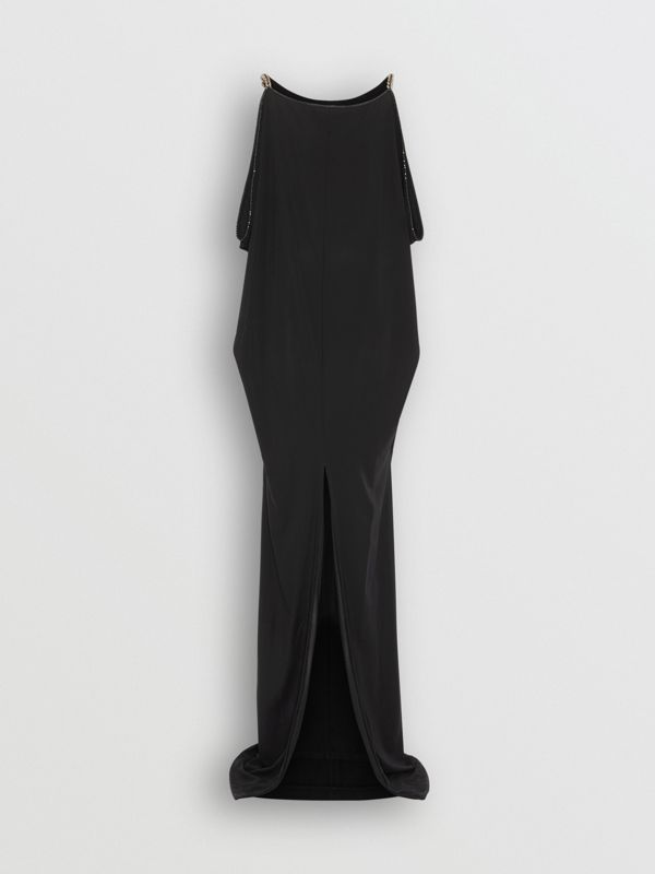 Crystal and Chain Detail Stretch Jersey Gown in Black - Women | Burberry - cell image 3