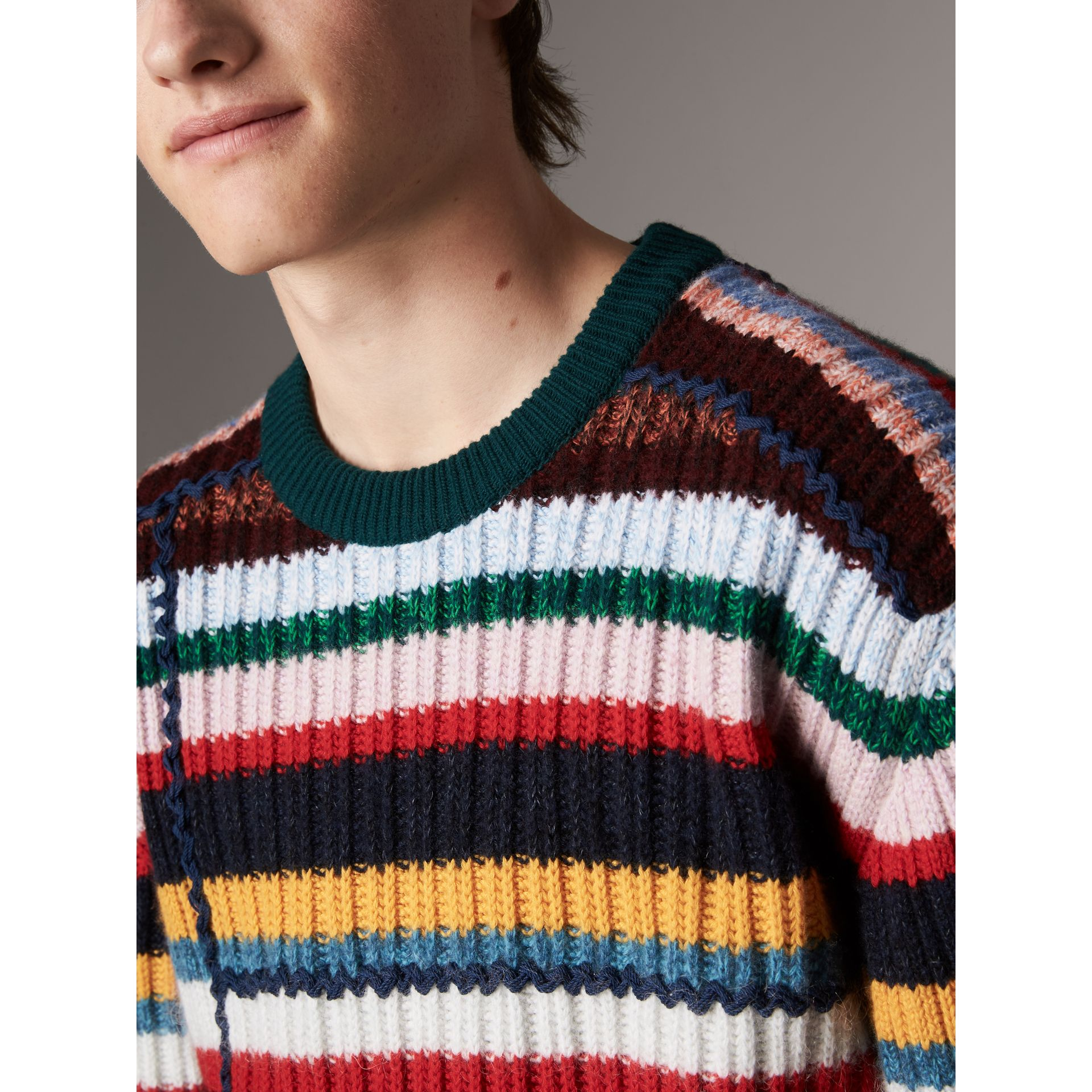Striped Wool Cashmere Cotton Sweater in Dark Racing Green - Men | Burberry United Kingdom - gallery image 4