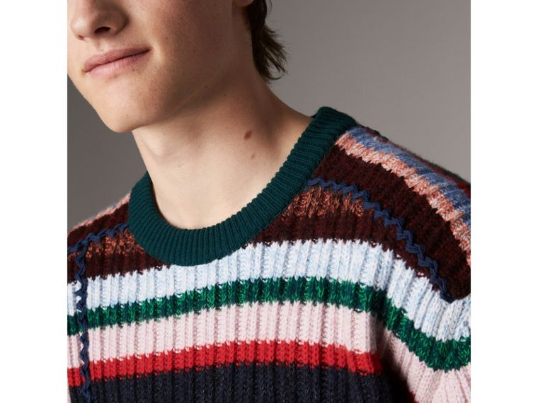 Striped Wool Cashmere Cotton Sweater in Dark Racing Green - Men | Burberry United Kingdom - cell image 4