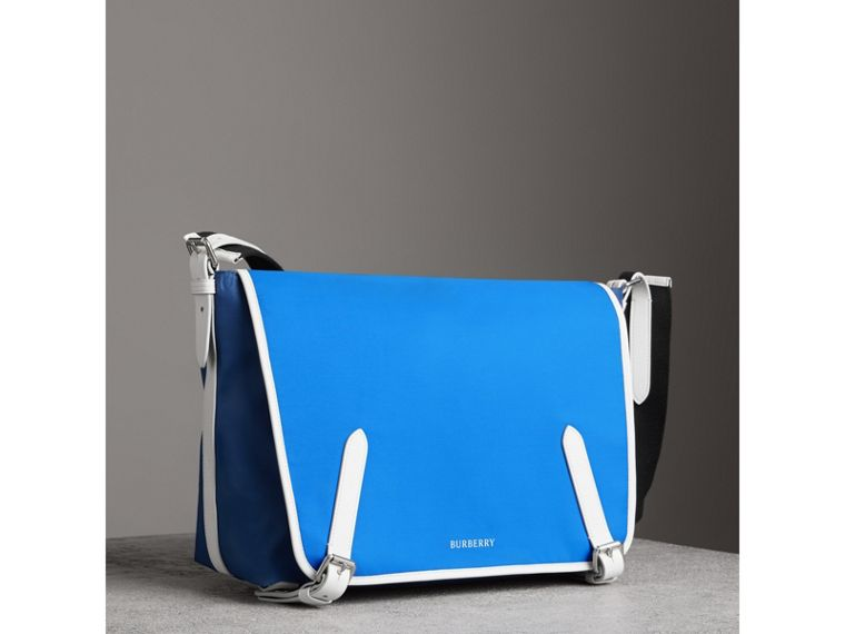 Large Tri-tone Nylon and Leather Messenger Bag in Deep Cerulean Blue - Men | Burberry - cell image 4