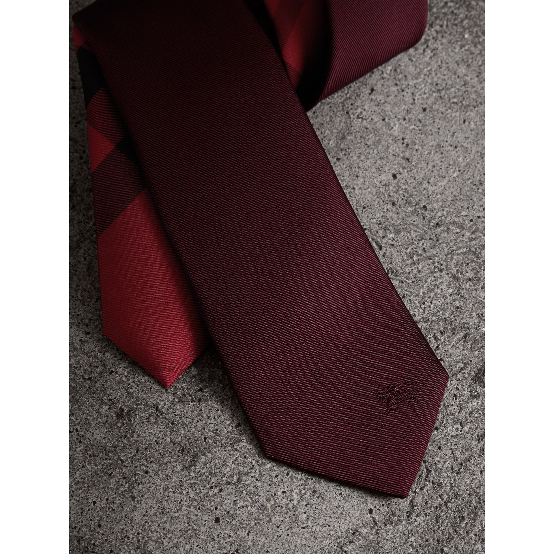 Slim Cut Check Silk Twill Tie in Mahogany Red - Men | Burberry - gallery image 2