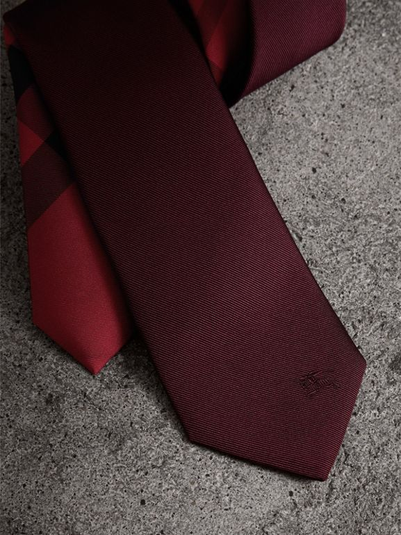 Slim Cut Check Silk Twill Tie in Mahogany Red - Men | Burberry - cell image 1