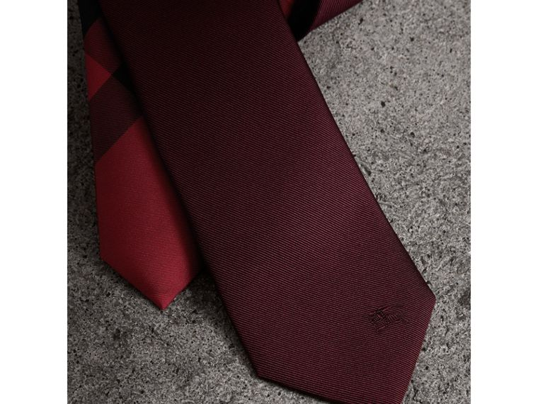 Slim Cut Check Silk Twill Tie in Mahogany Red - Men | Burberry United States - cell image 1