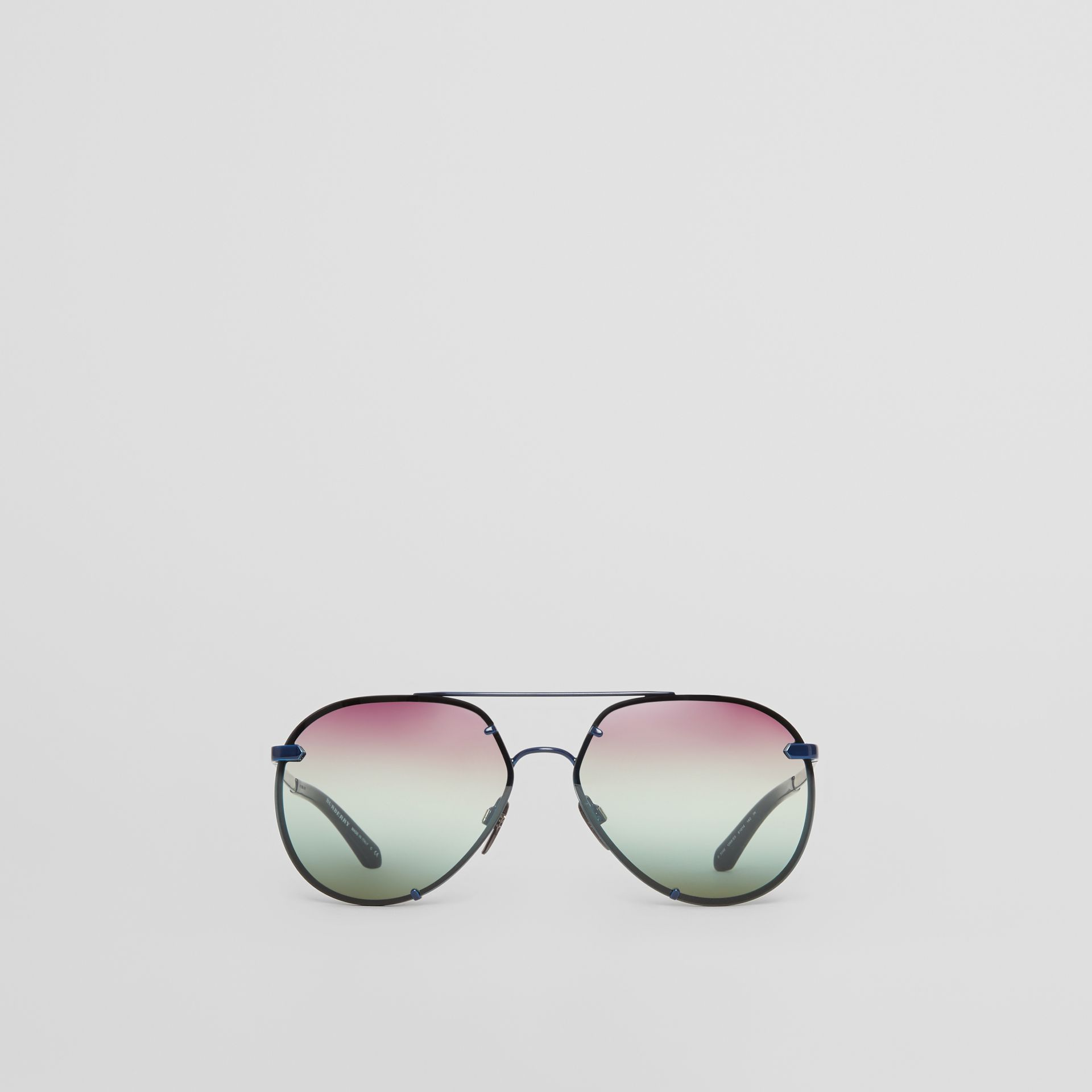 Check Detail Pilot Sunglasses in Blue - Women | Burberry - gallery image 0