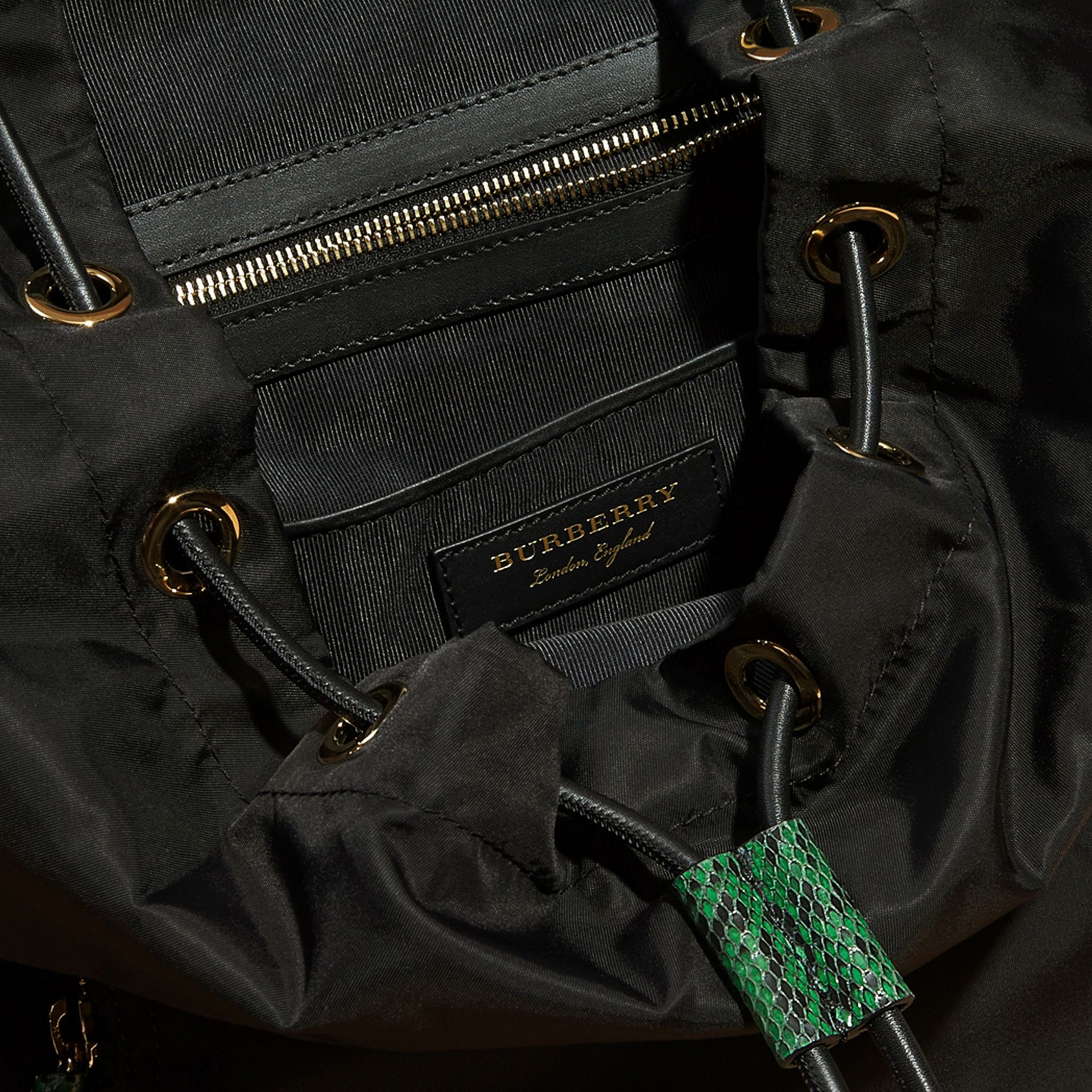 Black/bright green The Large Rucksack in Technical Nylon and Snakeskin Black/bright Green - gallery image 7