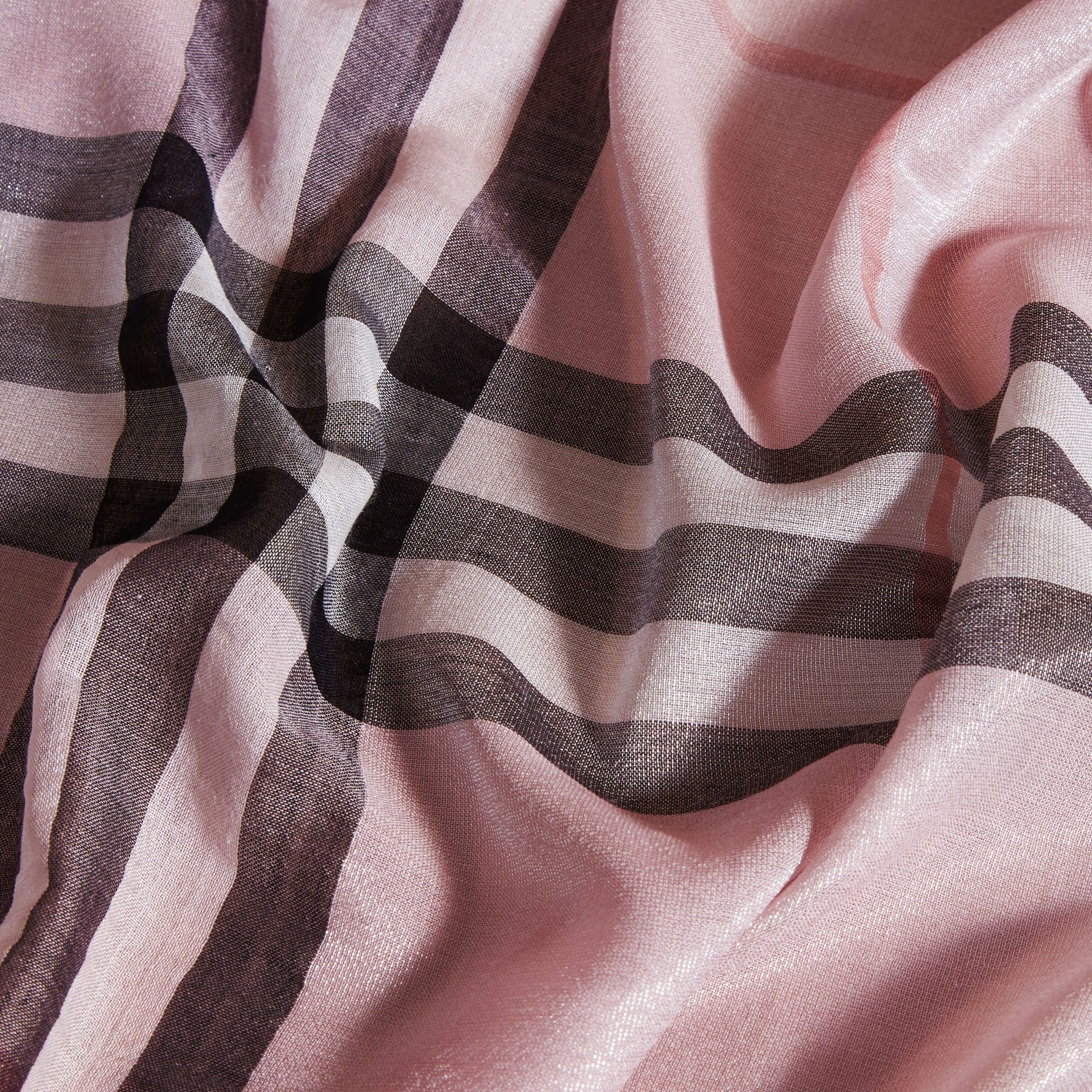 Metallic Check Silk and Wool Scarf Ash Rose/silver - gallery image 2