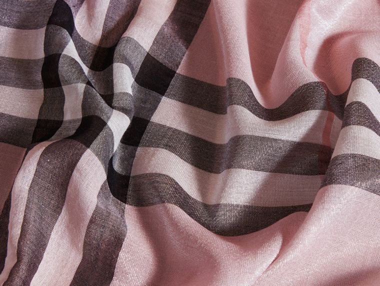 Metallic Check Silk and Wool Scarf Ash Rose/silver - cell image 1