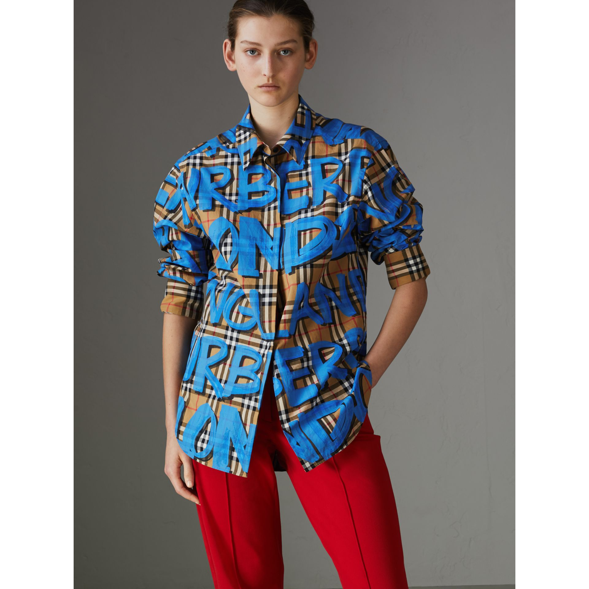 Graffiti Print Vintage Check Cotton Shirt in Bright Blue - Women | Burberry United Kingdom - gallery image 4