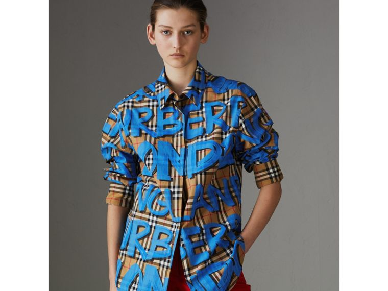 Graffiti Print Vintage Check Cotton Shirt in Bright Blue - Women | Burberry Australia - cell image 4