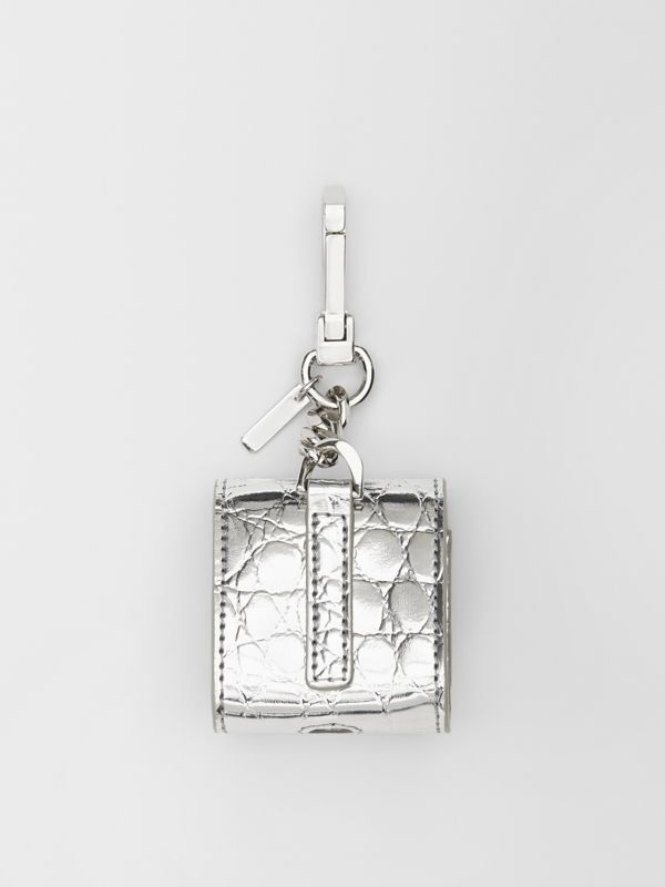 Metallic Embossed Earphone Case in Silver | Burberry United Kingdom - cell image 3