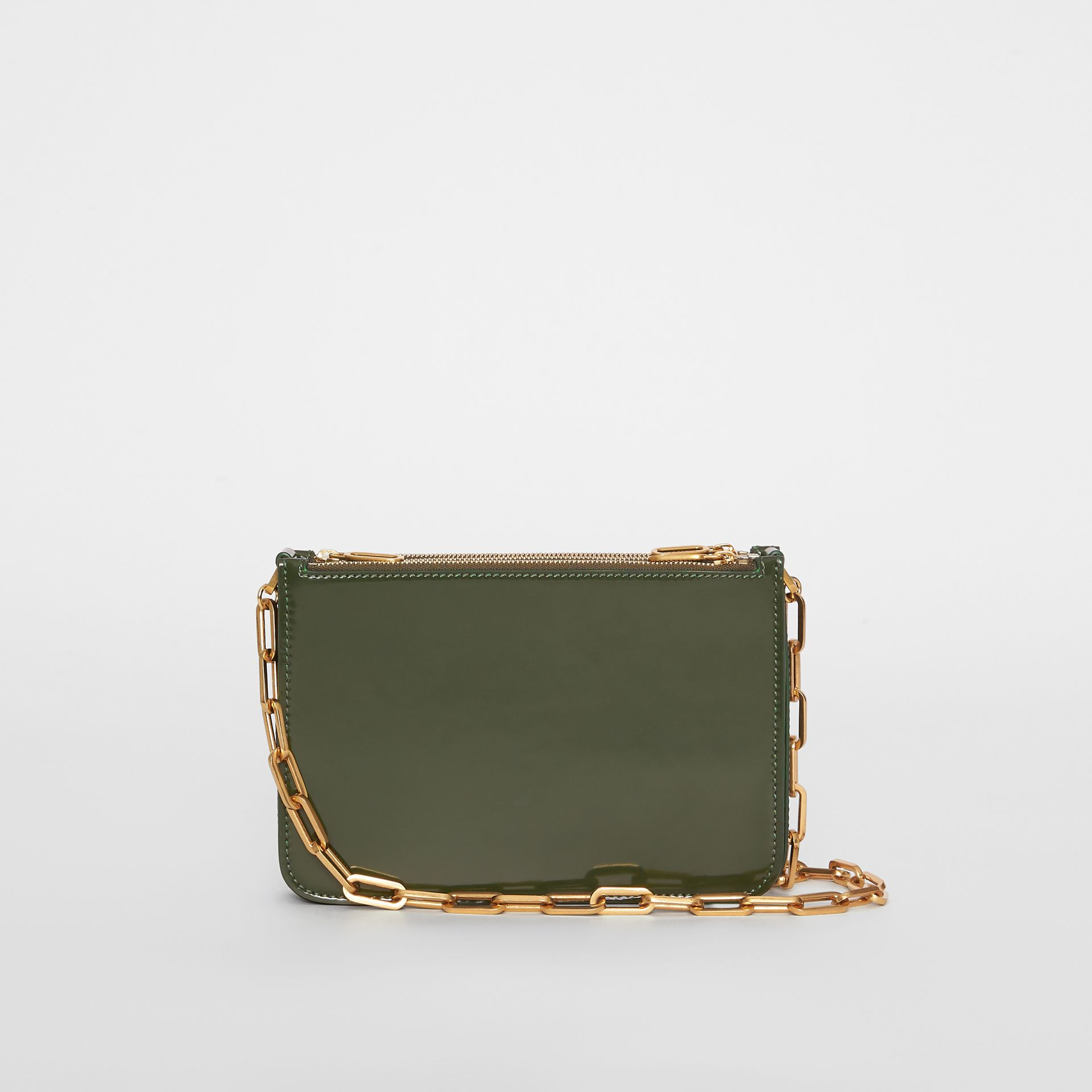 Triple Zip Patent Leather Crossbody Bag in Dark Forest Green - Women | Burberry United States - gallery image 5